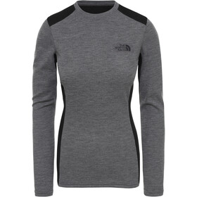 The North Face Easy Manga Larga Cuello Barco Mujer, tnf medium grey heather/tnf black
